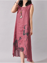 High-Low Loose Printed Sleeveless Maxi Dress