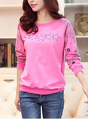 Round Neck  Printed Star Sweatshirt