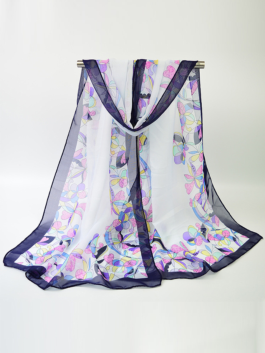 Chiffon Color Block Floral Printed Scarves