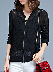 Collarless  Zips  Hollow Out  Long Sleeve Jackets