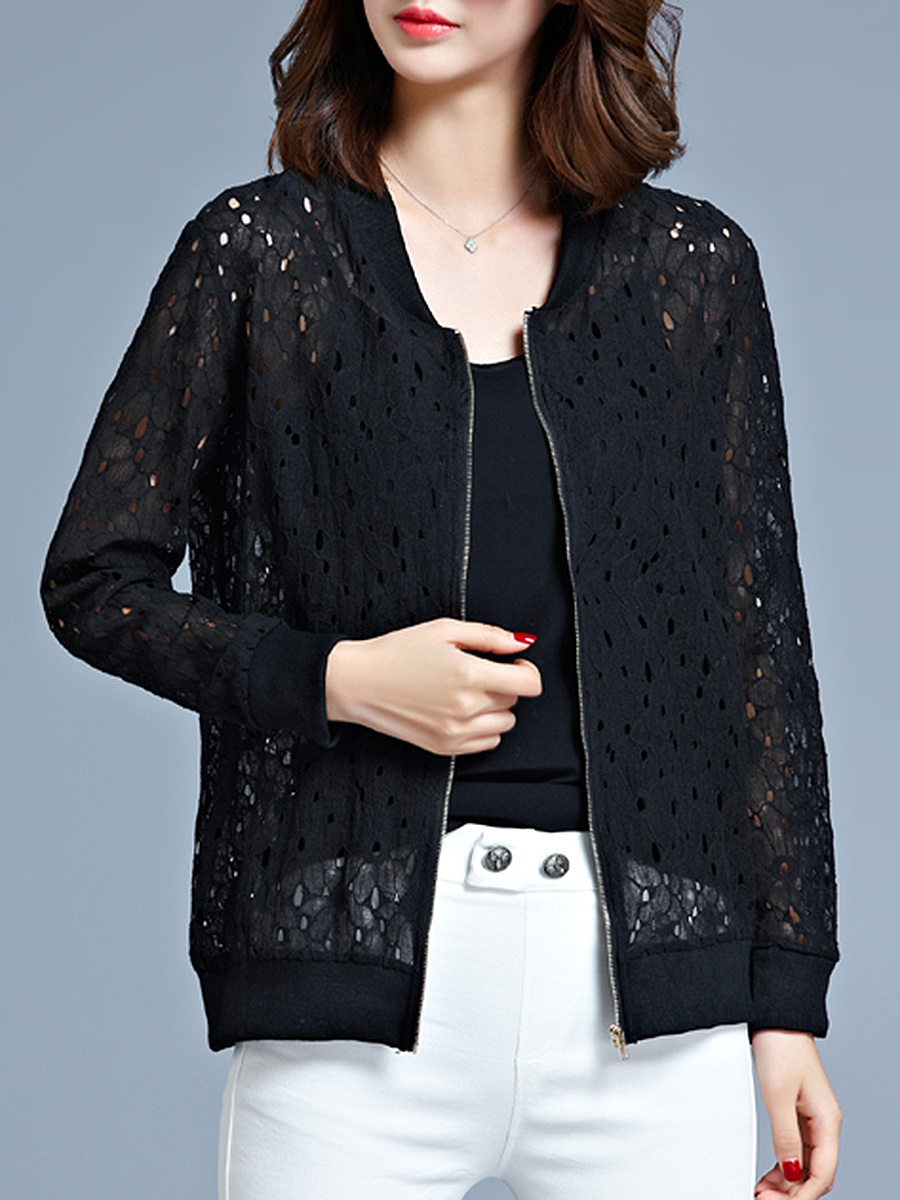 Veste Mélange De Coton Zips Hollow Out