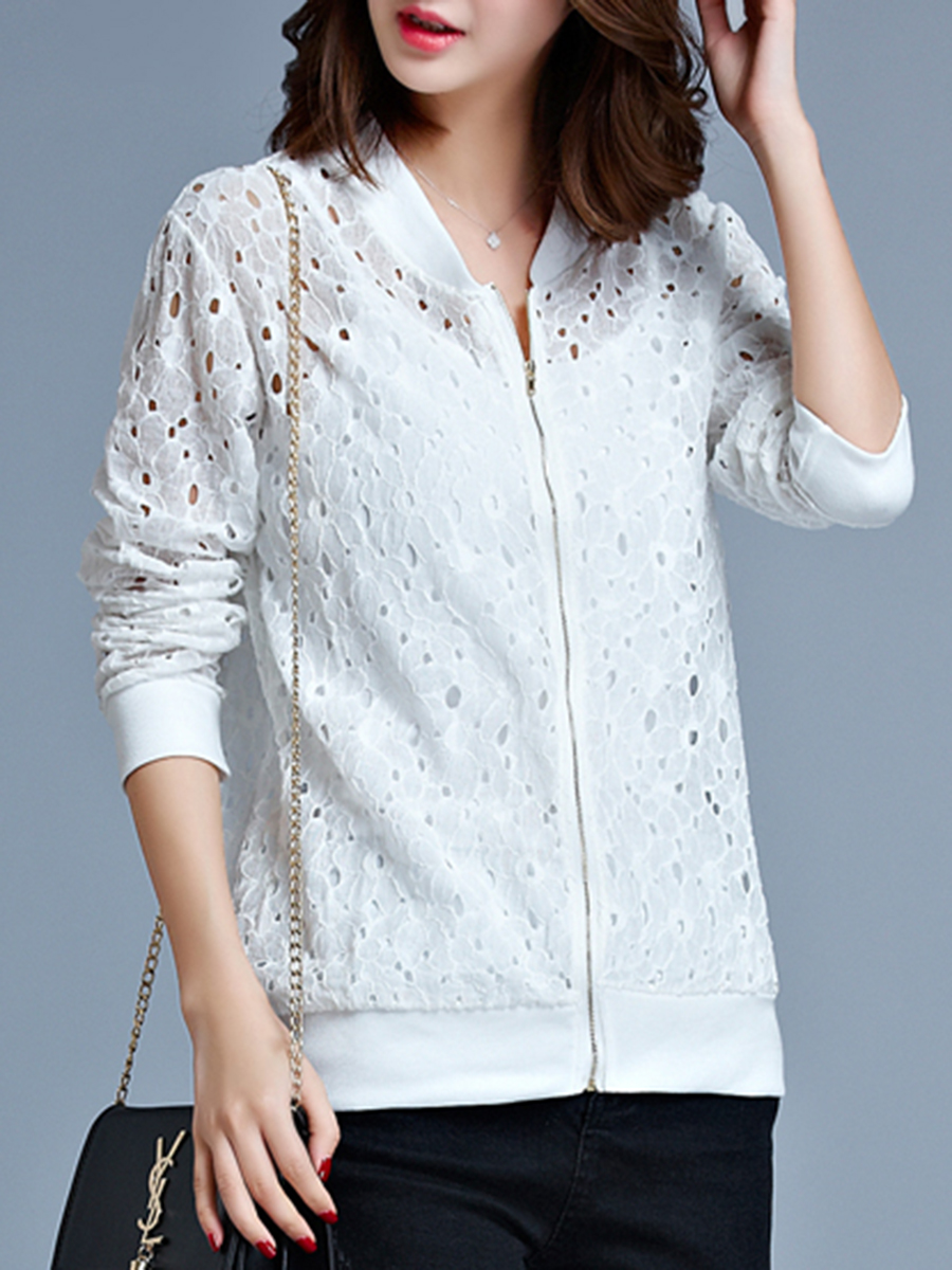 casual zips hollow out autumn spring Collarless  Zips  Hollow Out  Long Sleeve Jackets