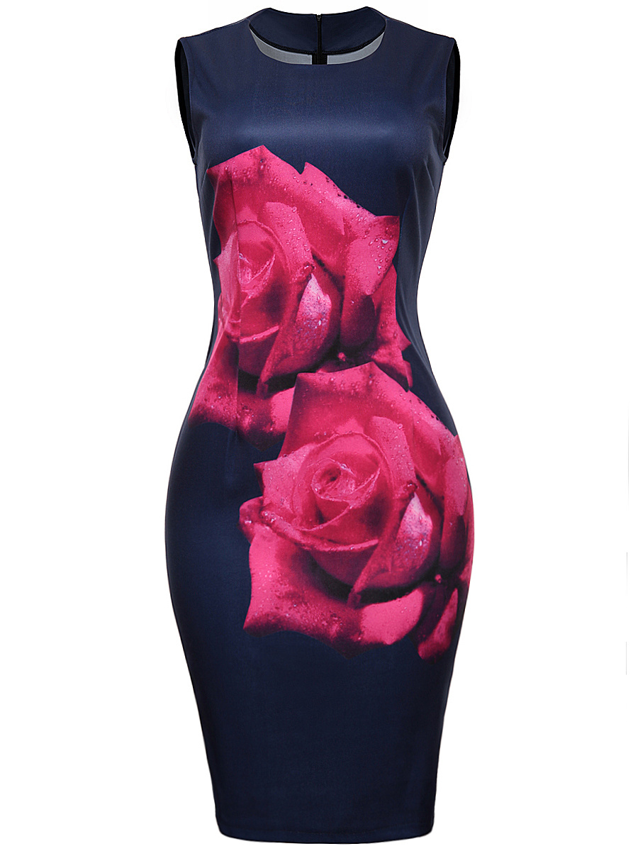 Elegant Round Neck Big Floral Printed Bodycon Dress
