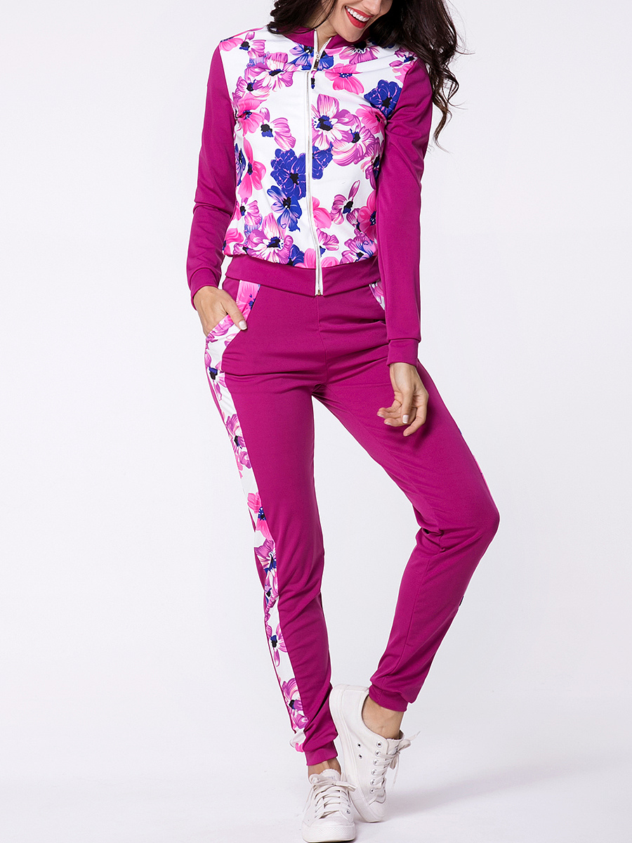 Band Collar Floral Printed Zips Jacket And Slit Pockets Slim-leg Mid-rise Pant