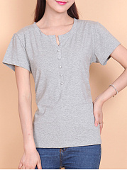 Summer  Cotton  Women  V-Neck  Decorative Button  Plain Short Sleeve T-Shirts
