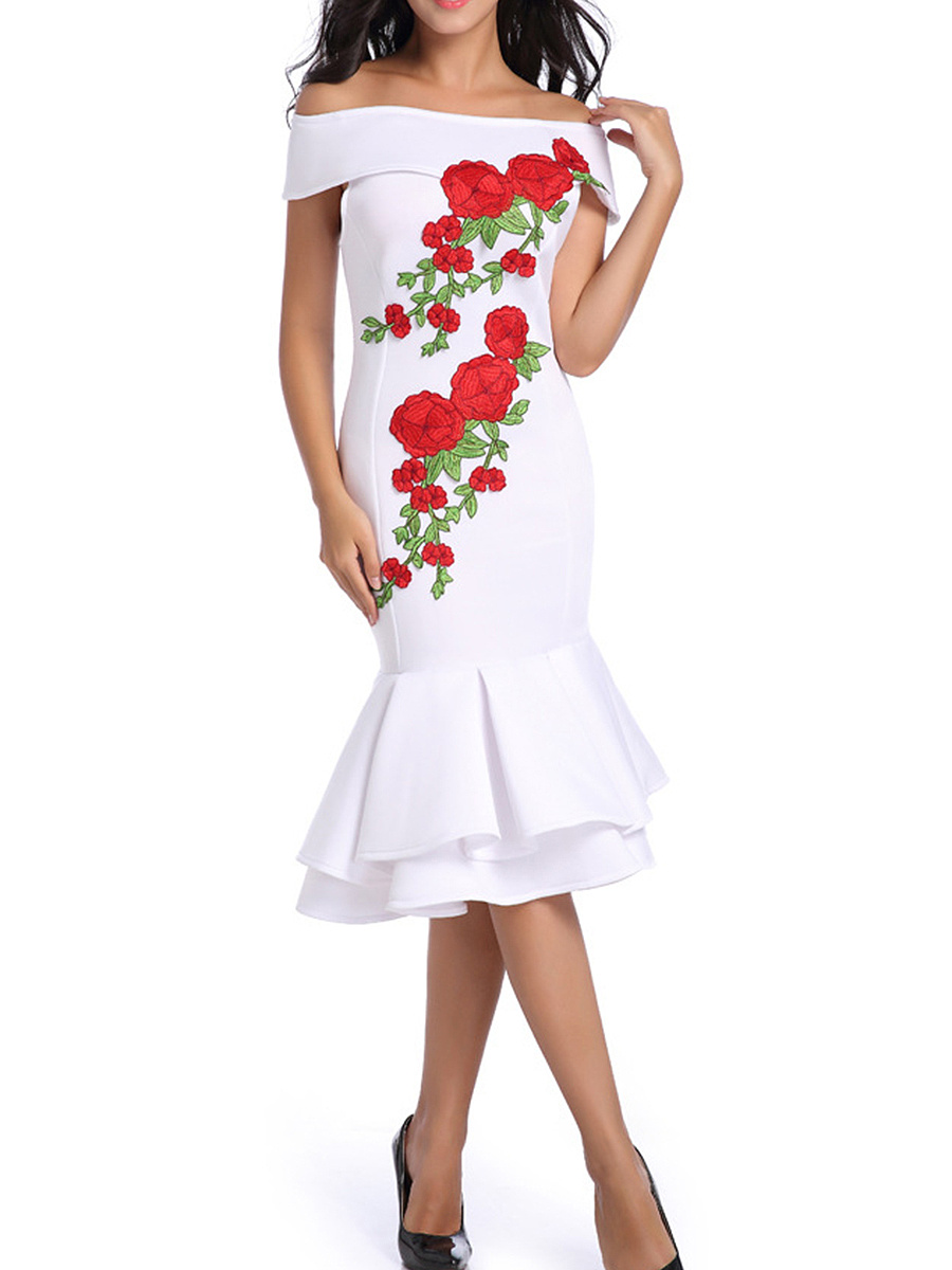 Open Shoulder  Floral  Blend Bodycon Dress