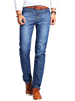 Ripped Light Wash Straight Mens Jeans