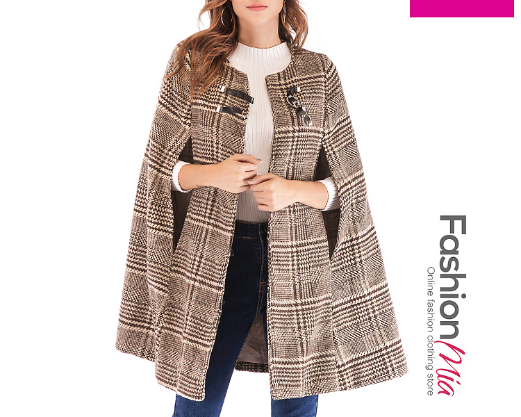Round Neck Decorative Button Plaid Cape Sleeve Coats - $32.95
