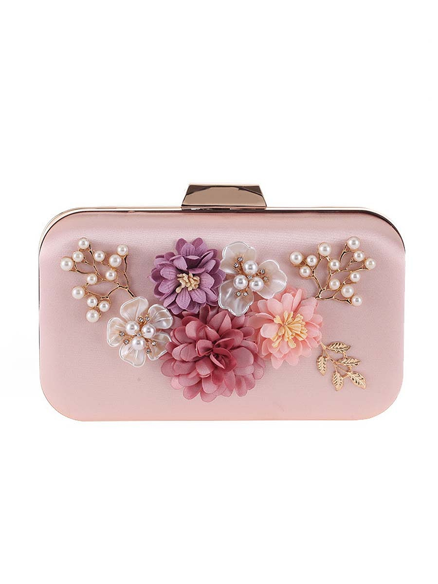 Pearls Beading Floral Clutch Bag