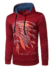 Trendy Indian Lion Printed Men Hoodie