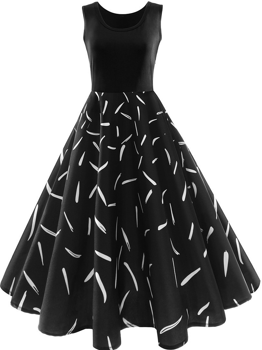 Round Neck Printed Midi Skater Dress