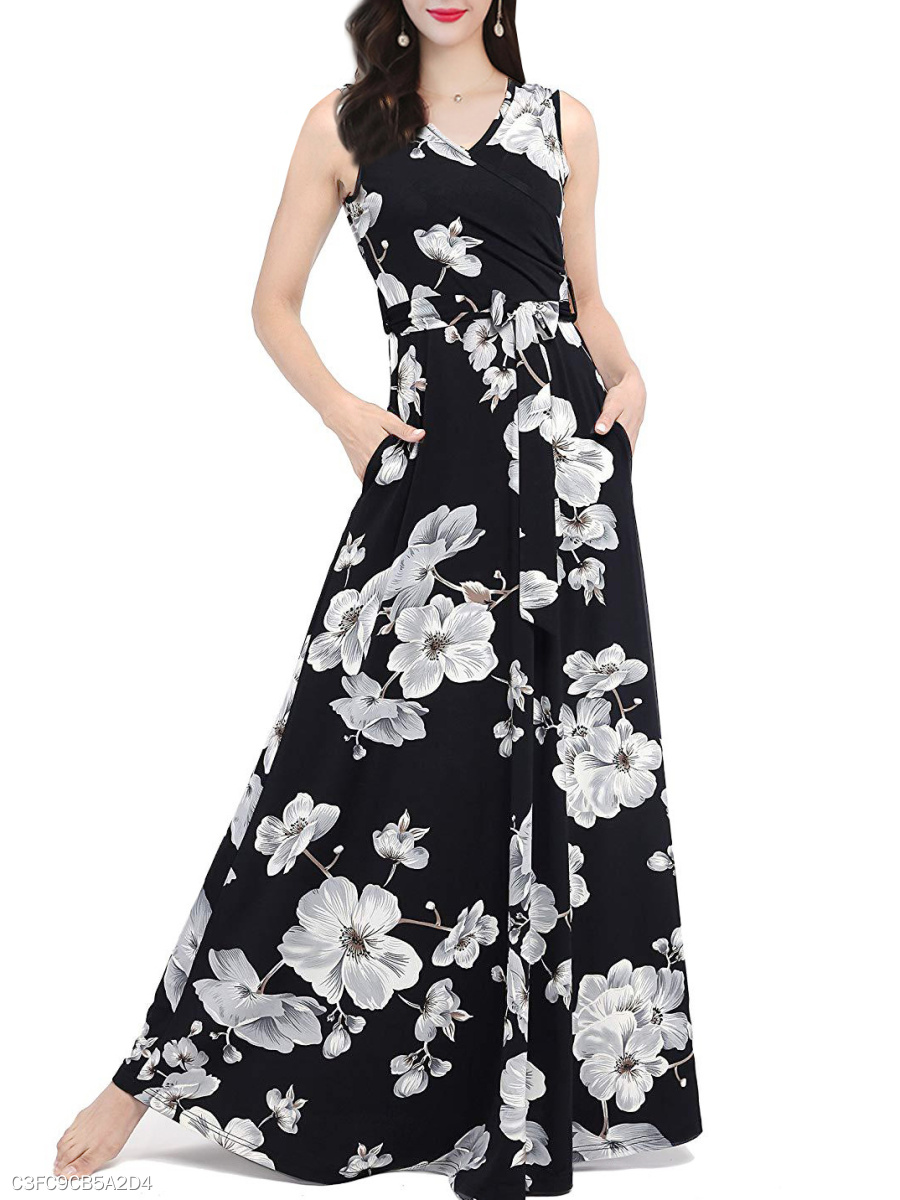 1c86690794 Surplice Floral Printed Maxi Dress - fashionMia.com