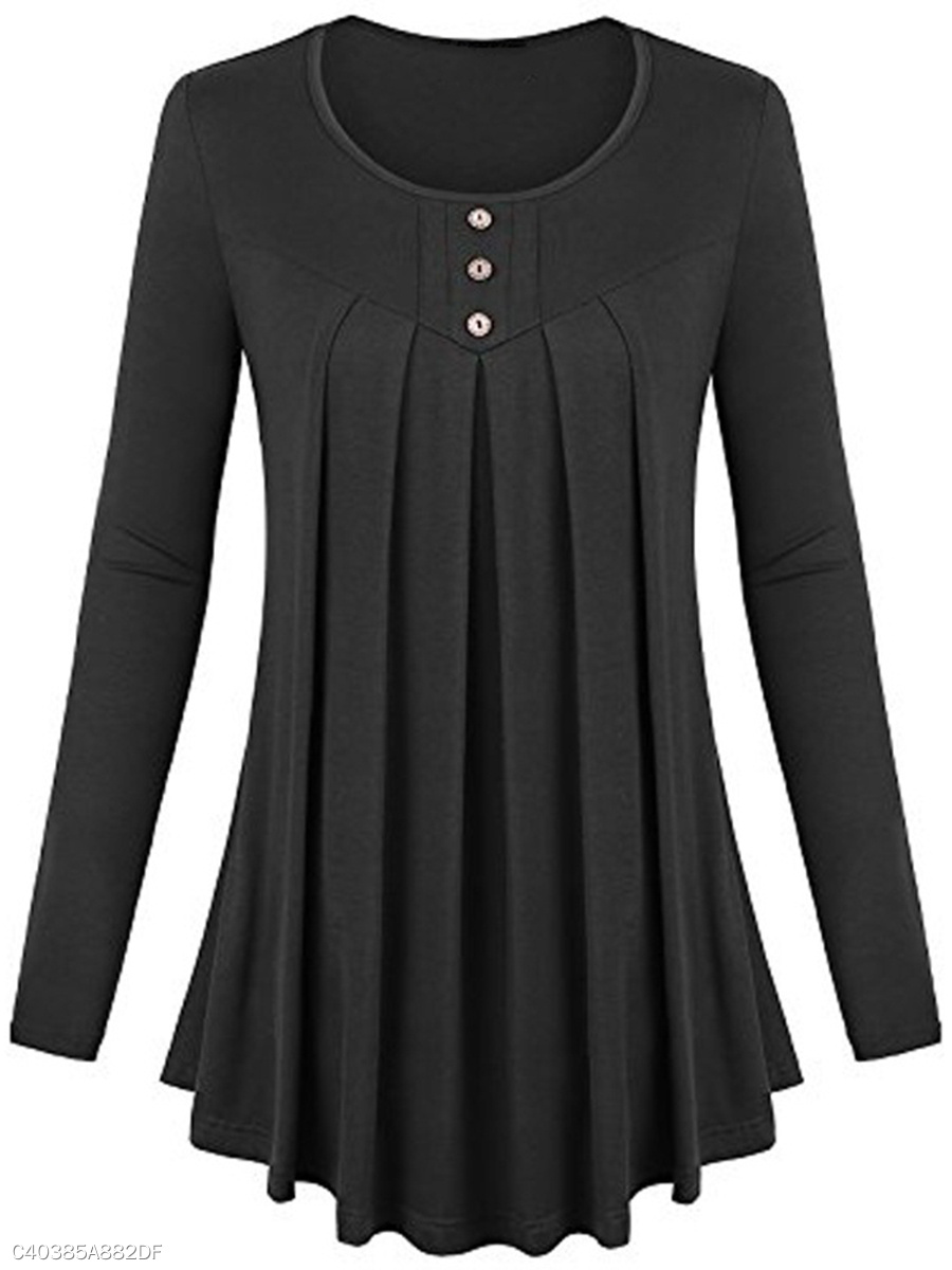 Autumn Spring  Cotton Blend  Women  Round Neck  Plain  Long Sleeve Long Sleeve T-Shirts