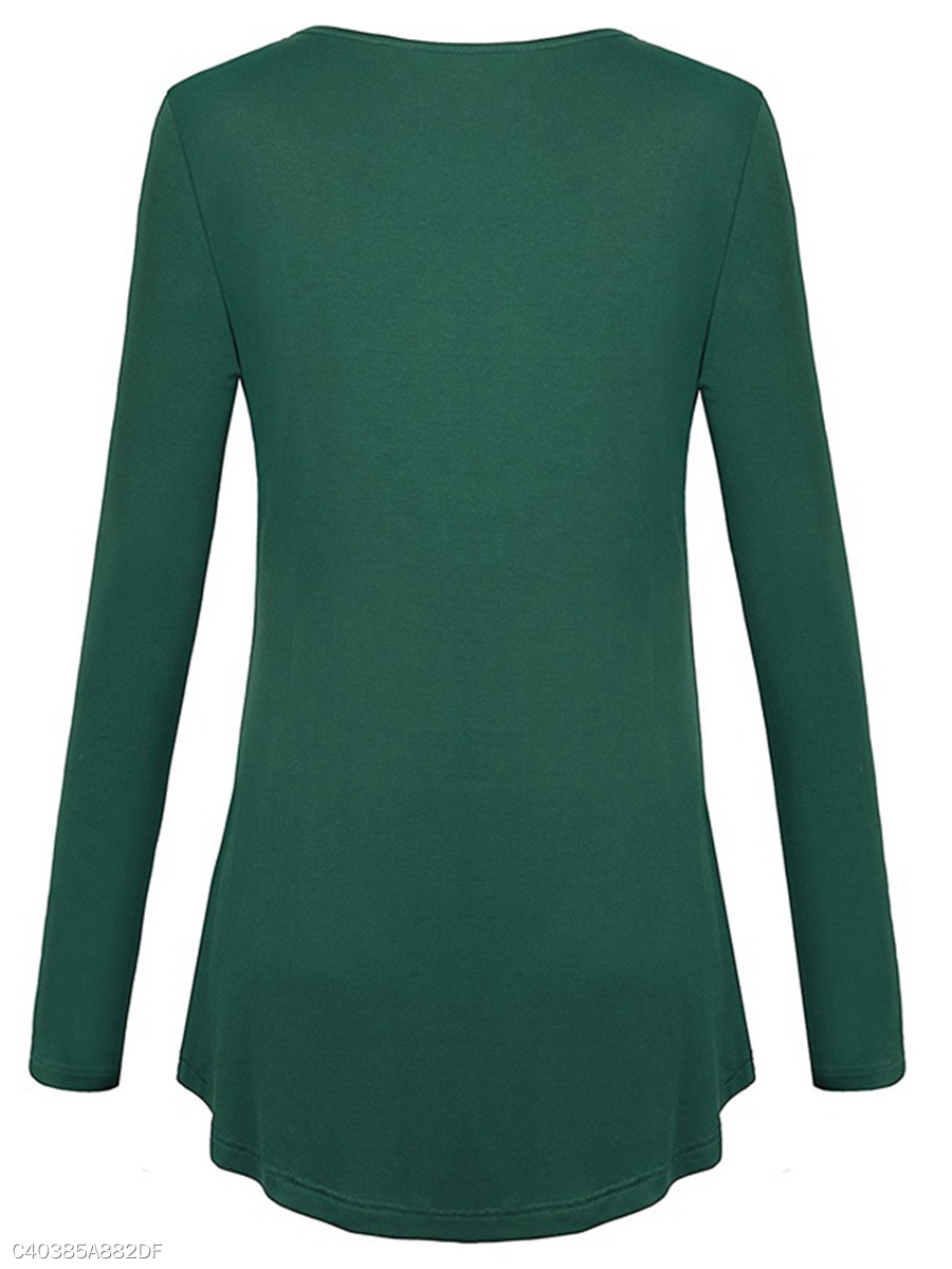 Autumn Spring Cotton Blend Women Round Neck Plain Long Sleeve Long ... 06acb40ac2c