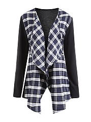 Lapel  Plaid  Long Sleeve Trench Coats