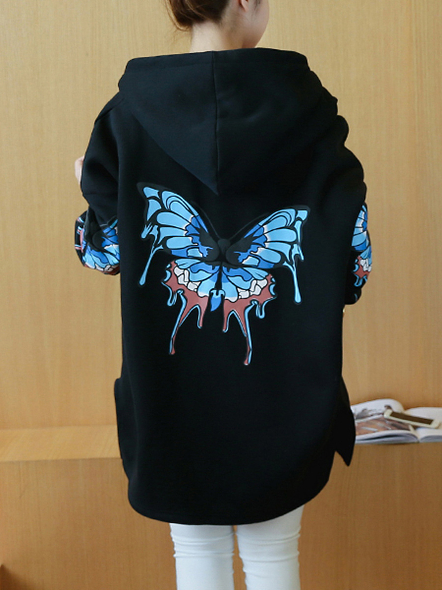 Oversized Butterfly Printed Patch Pocket Hoodie
