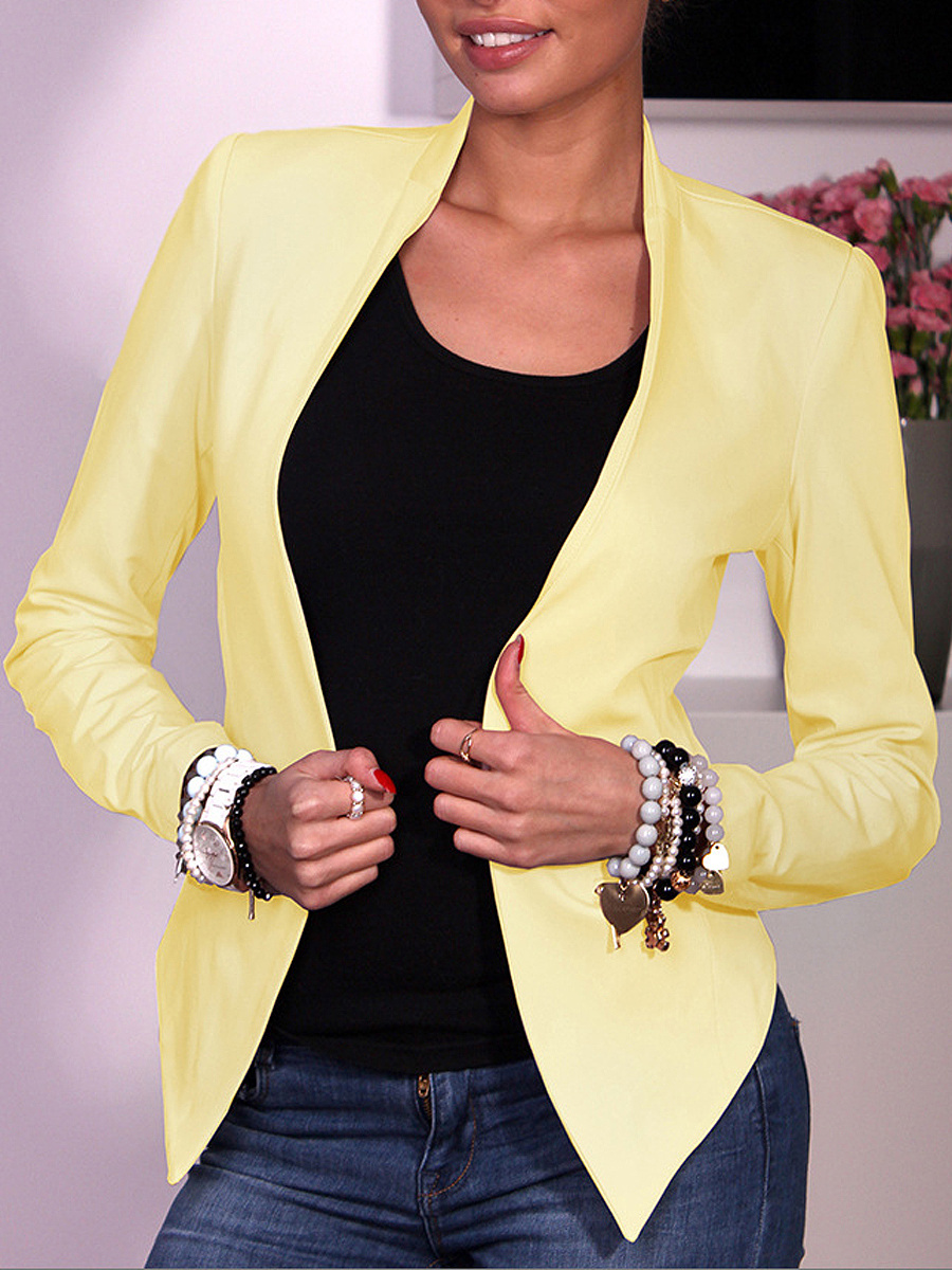 Office Collarless  Zips  Plain Blazer