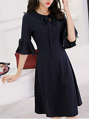 Tie Collar Plain Bowknot Bell Sleeve Skater Dress