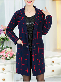 Lapel  Patch Pocket  Plaid  Long Sleeve Coat