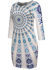 Round Neck Dramatic Printed Bodycon Dress