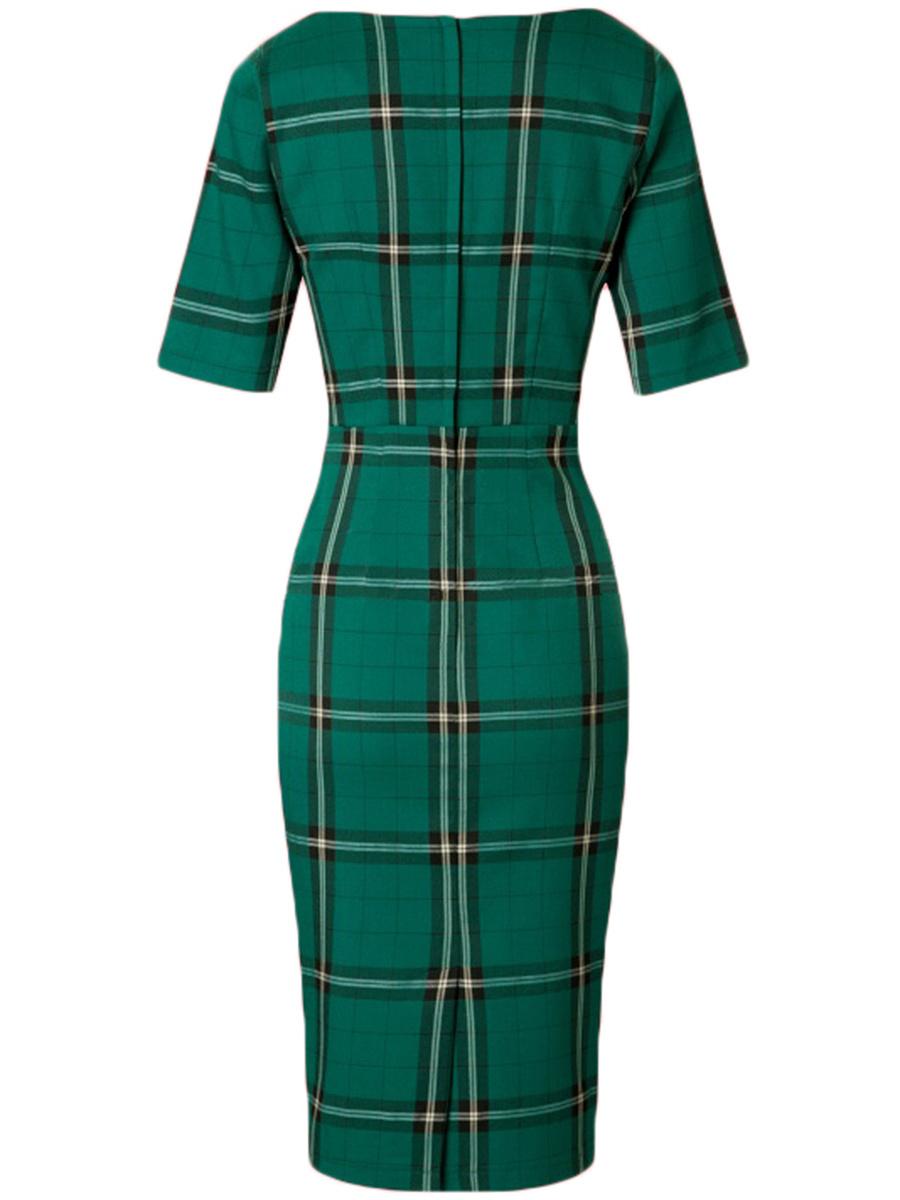 Vintage Plaid Round Neck Bodycon Dress