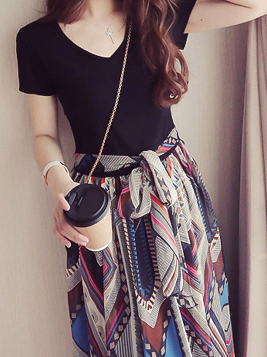 V-Neck Bowknot Patchwork Printed Midi Skater Dress