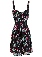 Spaghetti Strap Cute Floral Printed Skater Dress