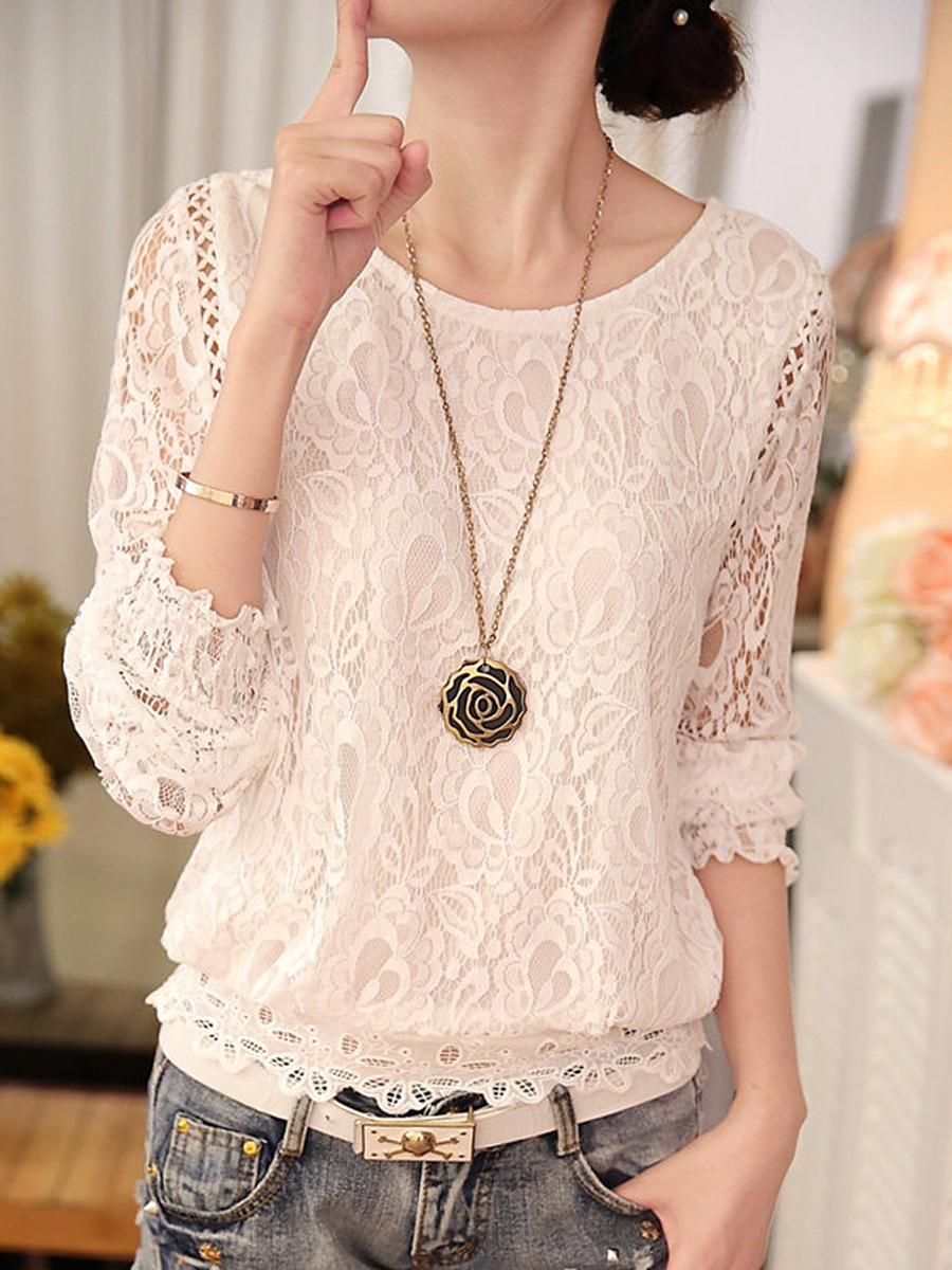 Round Neck Lace Hollow Out Plain Blouse
