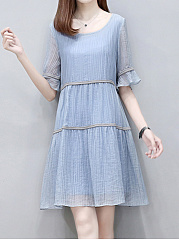 Elegant Round Neck Lady Style Plain Shift Dress