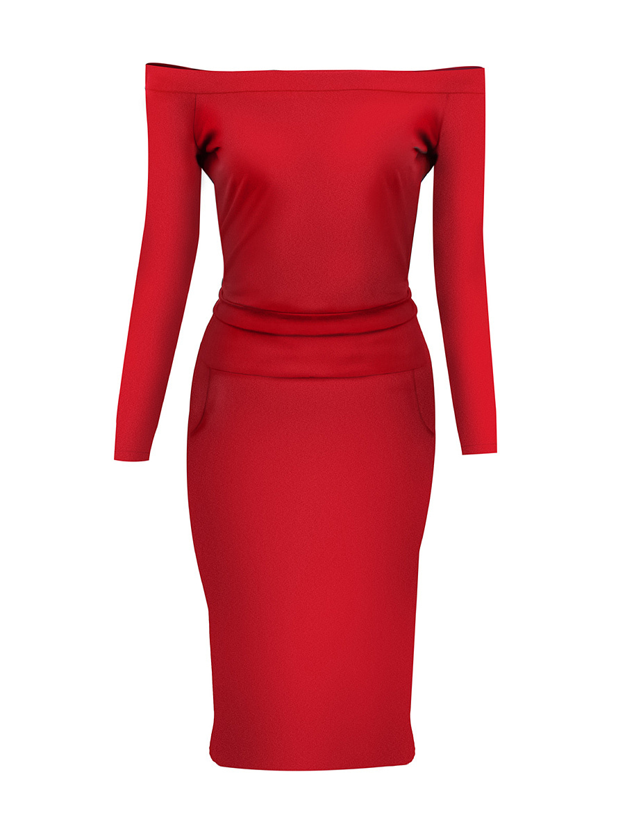 Ladylike Off Shoulder Pocket Solid Bodycon Dress