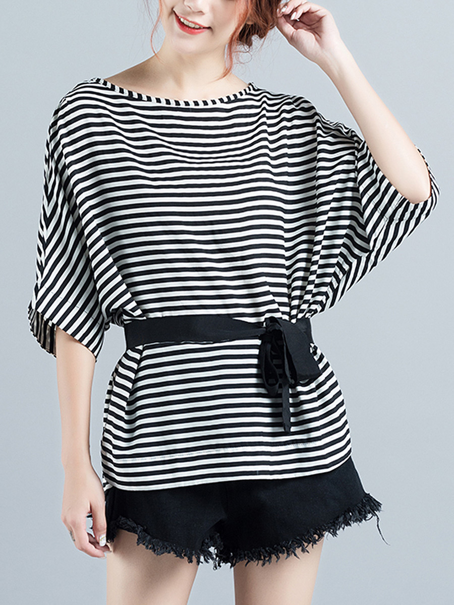 Boat Neck Striped Batwing Sleeve Blouse