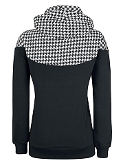 Houndstooth Cartoon Printed Bowknot Hoodie