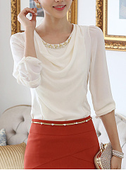 Autumn Spring  Chiffon  Women  Round Neck  Beading  Plain  Long Sleeve Blouses