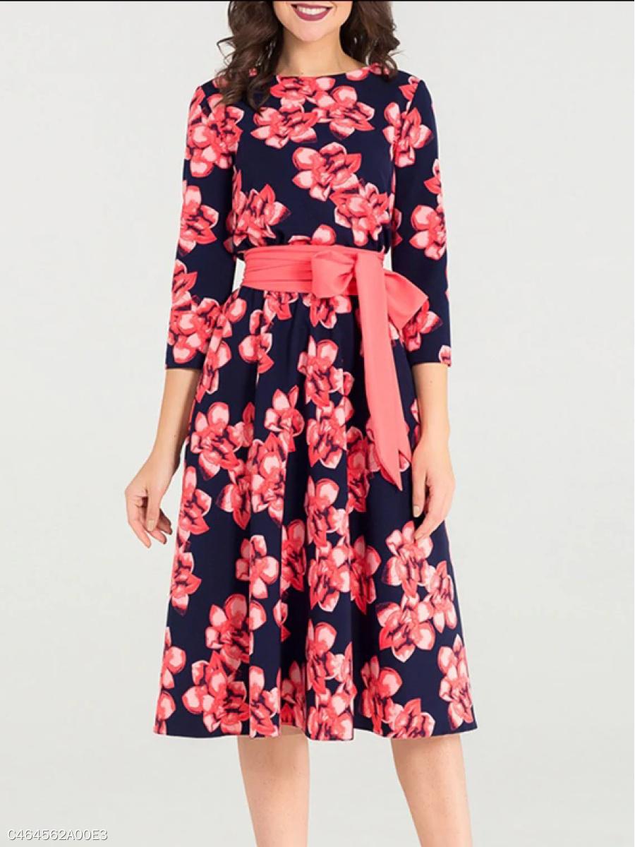 Round Neck Belt Floral Printed Skater Dress - fashionMia.com deffa29dc