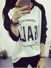 Round Neck  Loose Fitting  Letters  Raglan Sleeve Long Sleeve T-Shirts