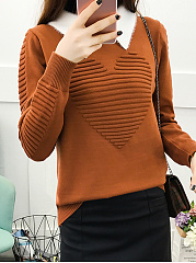 Doll Collar  Patchwork  Plain  Long Sleeve Sweaters Pullover