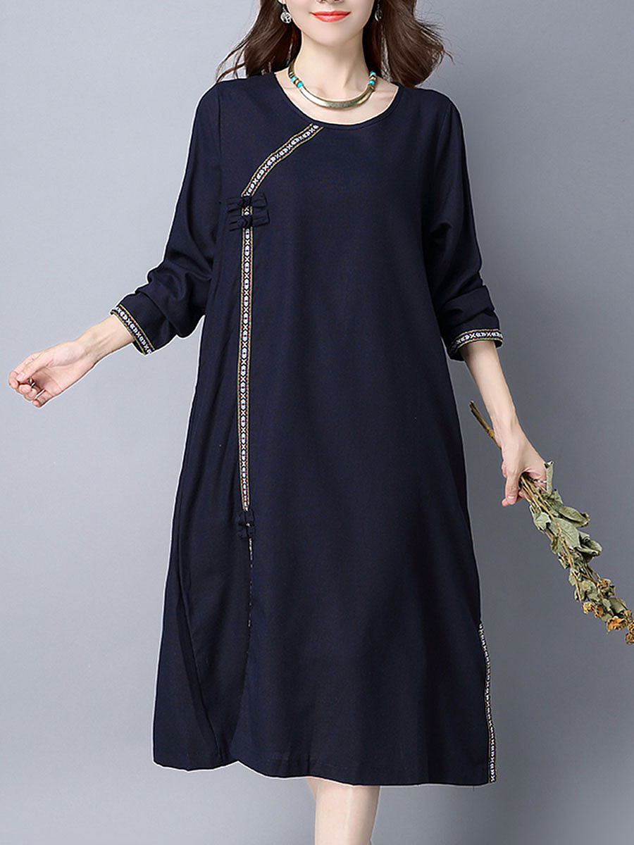 Round Neck  Contrast Trim  Decorative Button  Plain  Cotton Shift Dress