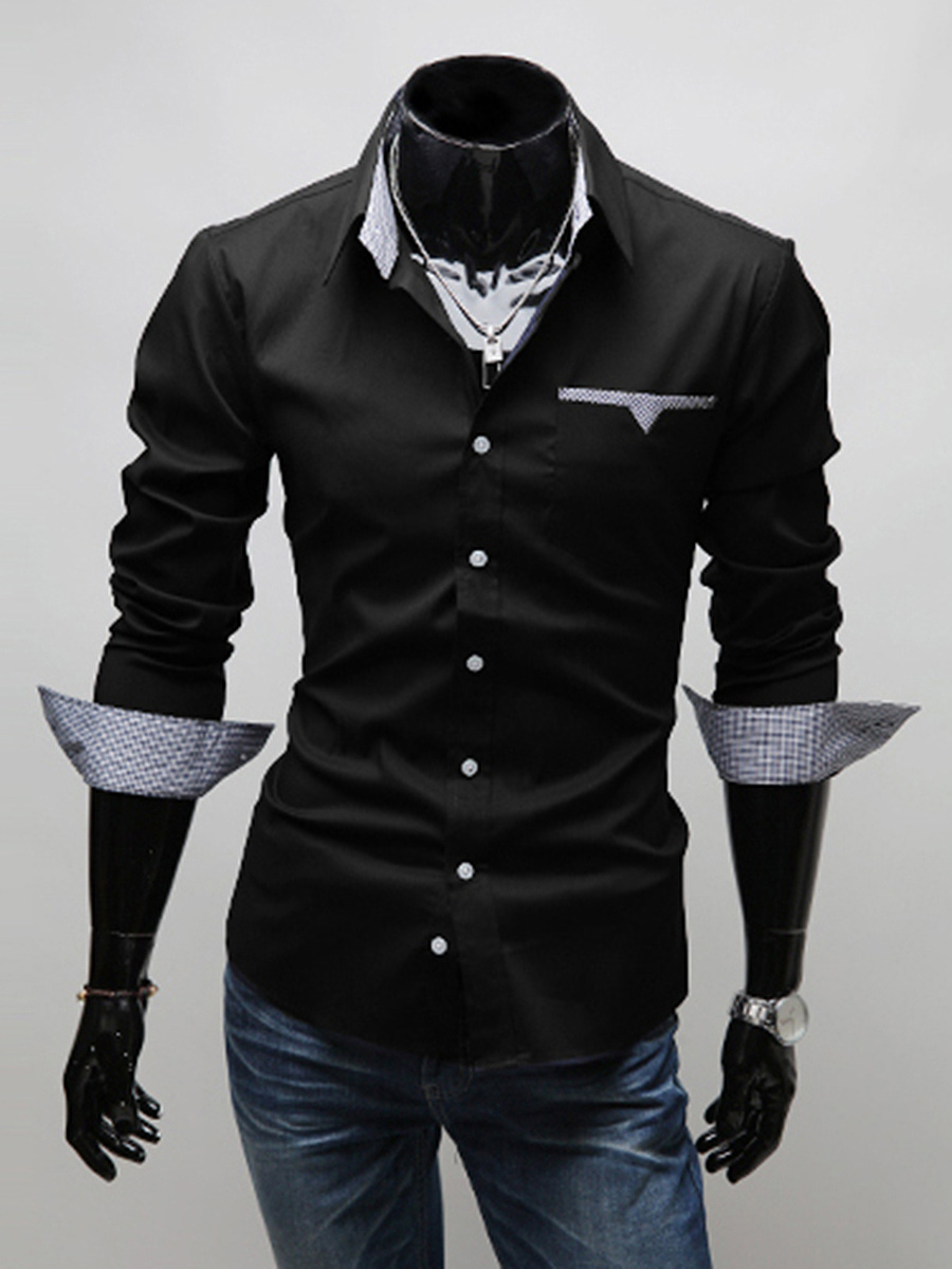 Turn Down Collar Gingham Lining Men Shirts