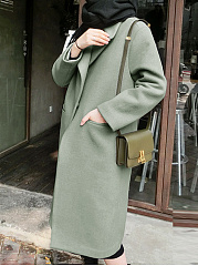 Fold-Over Collar  Patch Pocket  Single Button  Plain  Long Sleeve Coats