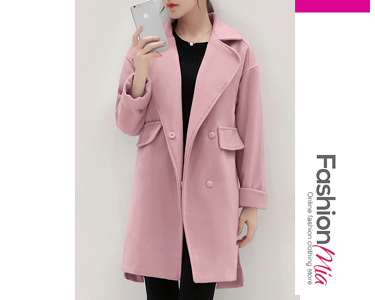gender:women, hooded:no, thickness:thick, brand_name:fashionmia, outerwear_type:coat, style:fashion, material:woolen, collar&neckline:lapel, sleeve:long sleeve, embellishment:slit pocket, pattern_type:plain, occasion:casual, season:spring,winter, package_included:top*1,