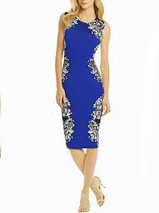 Crew Neck  Abstract Print Bodycon Dress