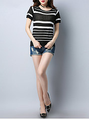 Autumn Spring  Women  Striped Short Sleeve T-Shirts