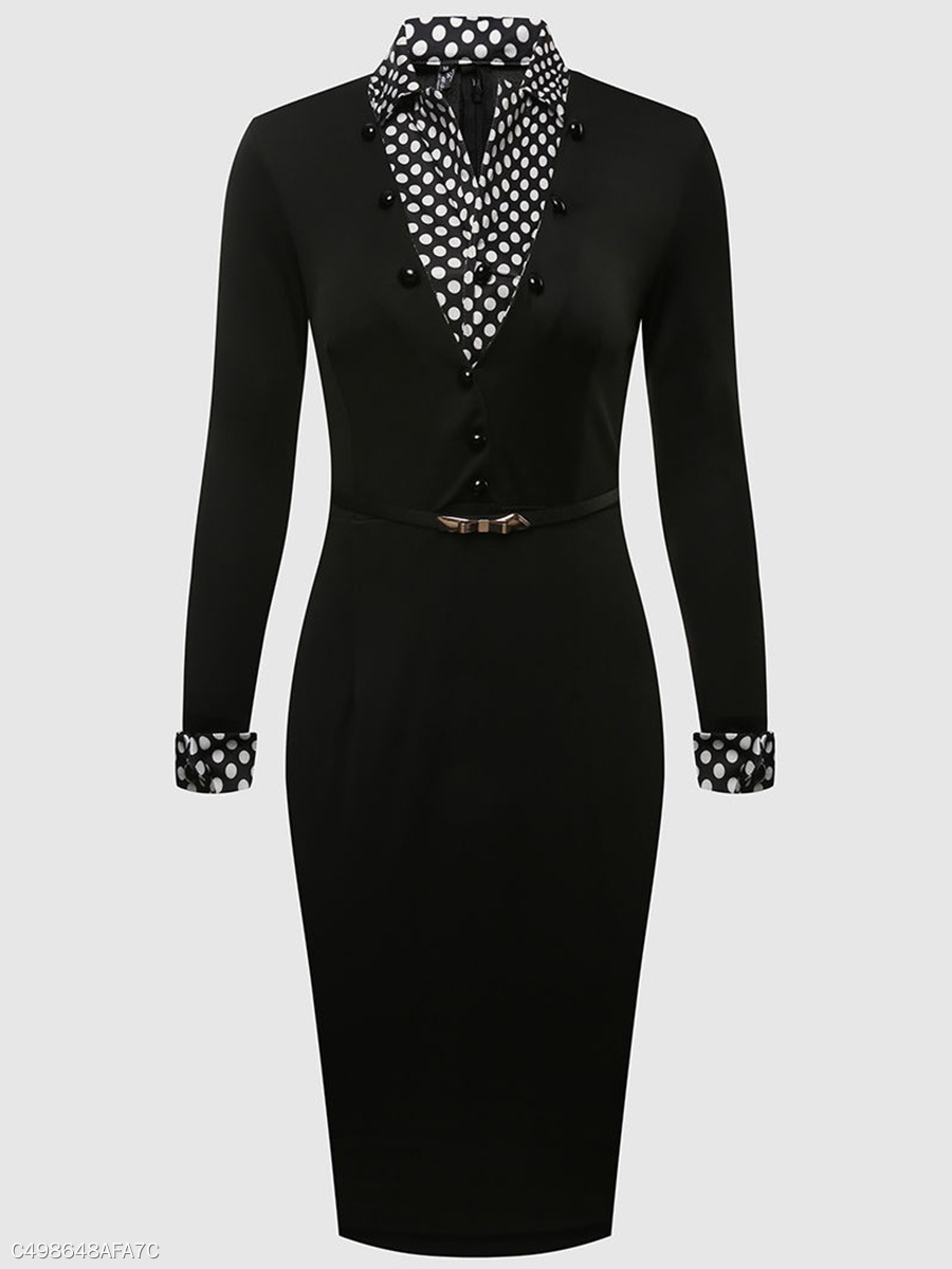 Women Office Polka Dot Belt Lapel Bodycon Dress