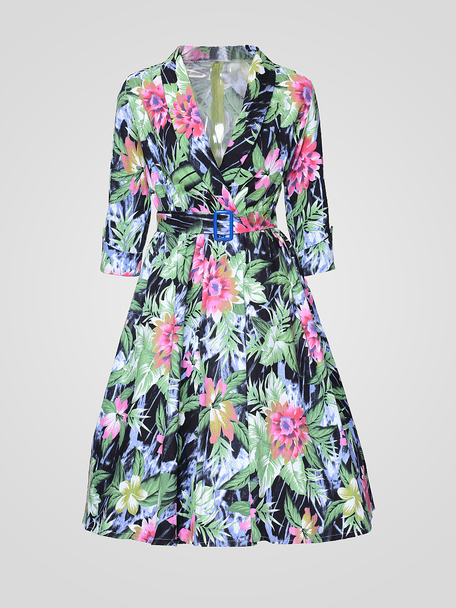 Stylish Lapel Floral Printed Skater-dress