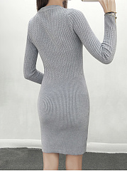Round Neck  Plain  Knitted Bodycon Dress
