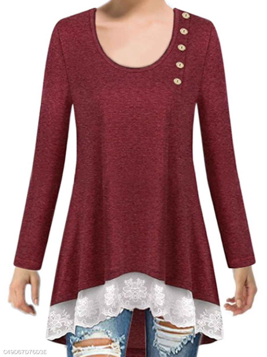 Autumn Spring  Polyester  Women  Round Neck  Asymmetric Hem Decorative Lace Patchwork  Decorative Button  Plain Long Sleeve T-Shirts