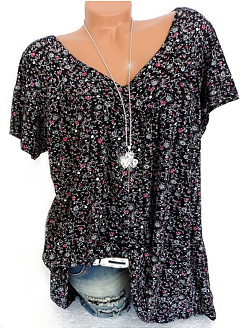 Polyester  V-Neck  Floral Printed  Short Sleeve Short Sleeve T-Shirts