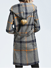 Hooded Patch Pocket Plaid Woolen Coat