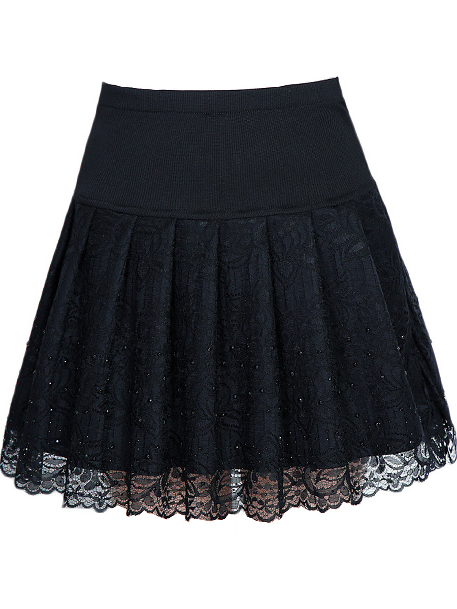Decorative Lace Rhinestone Plain Flared Mini Skirt