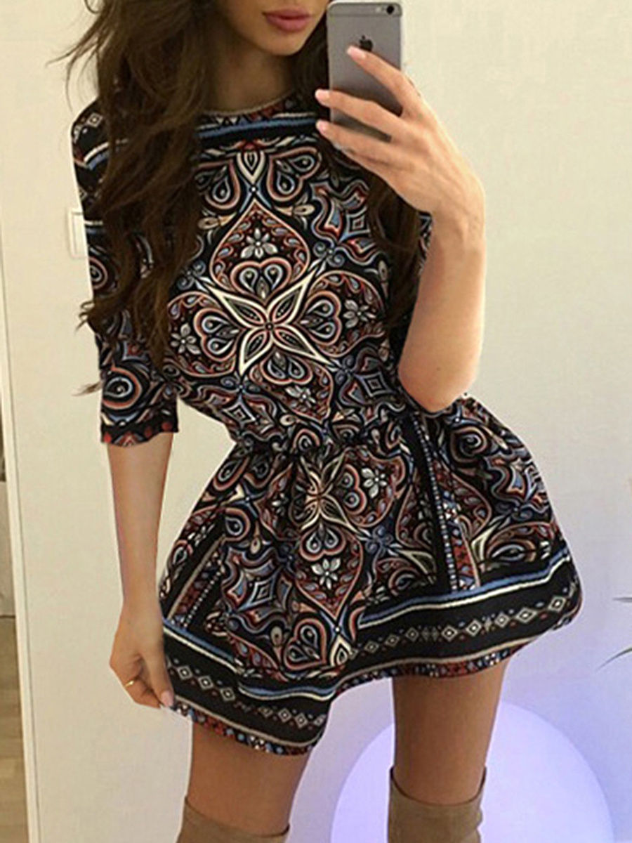Special Round Neck Tribal Printed Skater Dress